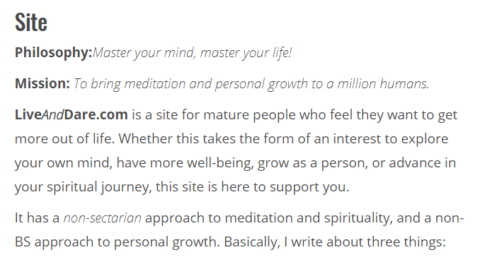 Live and Dare Beginners meditation course site philosophy