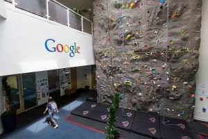 freelance company culture google rock wall